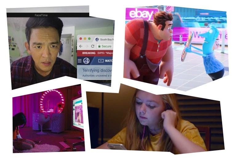 Photo illustration of John Cho in Searching, Ralph Breaks the Internet, Elsie Fisher in Eighth Grade, and Madeline Brewer in Cam.