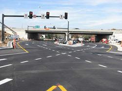 A driver's view of the Dorsett Road diverging diamond interchange looking west. Click image to expand.