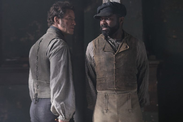Dominic West as Jean Valjean and David Oyelowo as Javert.