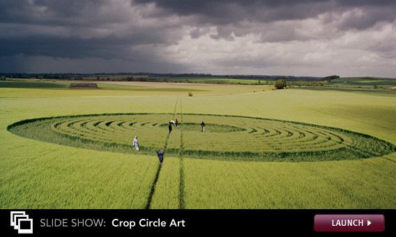 Click to launch a slideshow on crop circles.