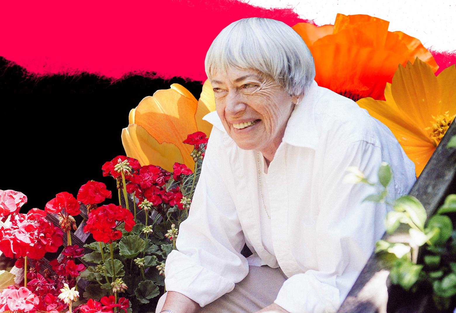 Photo illustration: Ursula K. Le Guin surrounded by flowers in her garden.