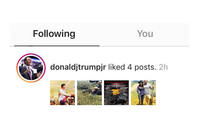 Notification of Donald Trump Jr.'s likes on Instagram.