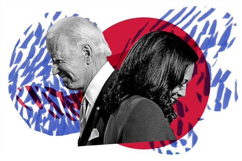 Joe Biden and Kamala Harris smiling and walking in opposite directions.