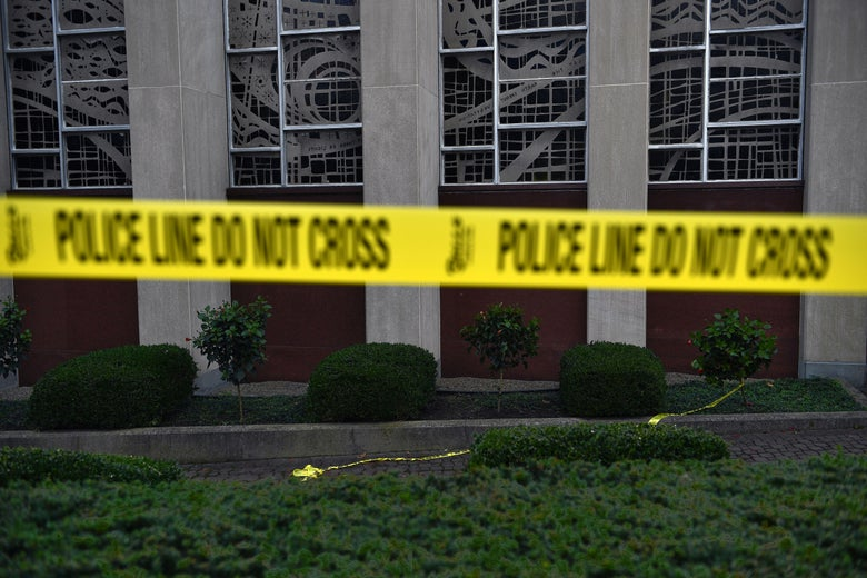Police tape seals the perimeter of the Tree of Life synagogue after a shooting left 11 people dead in the Squirrel Hill neighborhood of Pittsburgh, Pennsylvania on October 29, 2018.