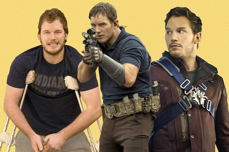 A collage of Chris Pratt in Parks and Rec, Guardians of the Galaxy, and The Tomorrow War. In the latter, he determinedly holds up a space gun.