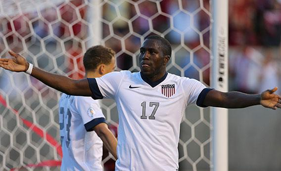Jozy Altidore #17 of the United States celebrates  his goal against Honduras during the second half of an World Cup Qualifying March June 18, 2013 at Rio Tinto Stadium in Sandy, Utah.