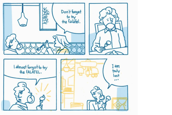 Comic panels show a man and a woman dining and talking at a falafel restaurant.