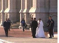 Newlyweds in Temple Square