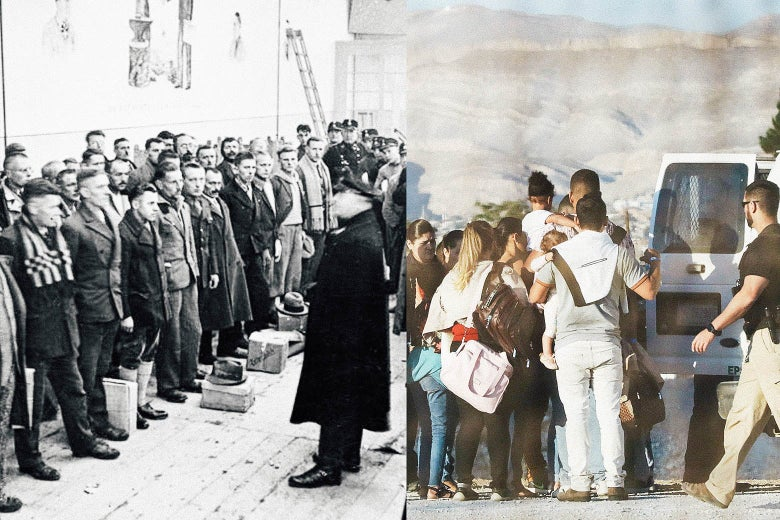 Side by side of Nazis transporting concentration camp prisoners and the U.S. transporting immigrants.