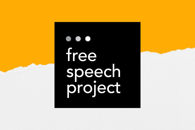 "A black square with text that says ""Free Speech Project"" against a white and orange background."