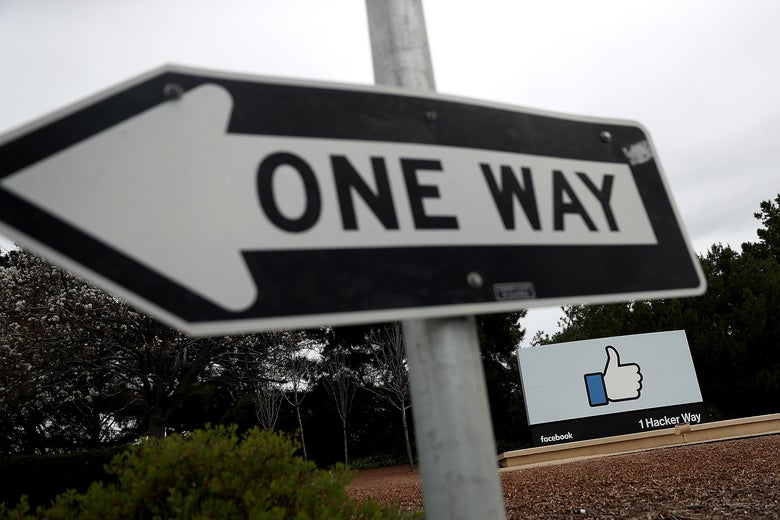 A one-way sign in front of Facebook's headquarters.