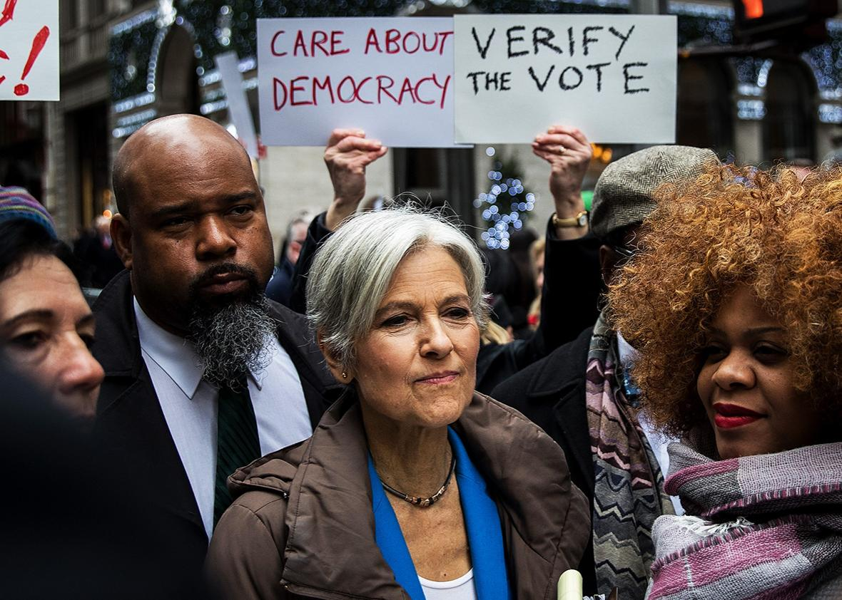 Green Party presidential candidate Jill Stein waits to speak at a news conference on Fifth Avenue across the street from Trump Tower December 5, 2016 in New York City.