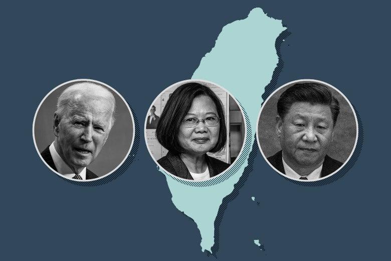 Photos of Joe Biden, Tsai Ing-wen, and Xi Jinping over an outline of Taiwan.