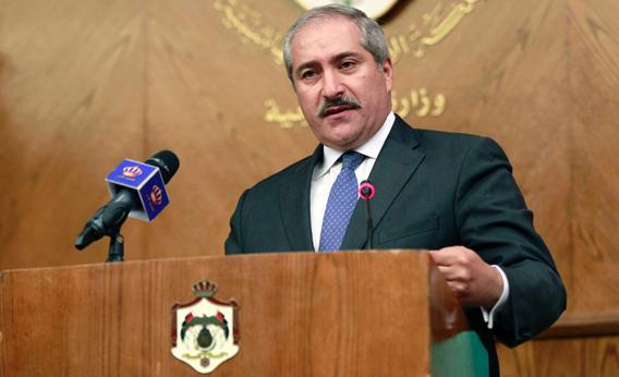 Jordanian Foreign Minister Nasser Judeh speaks during a joint news conference with his Turkish counterpart Ahmet Davutoglu.