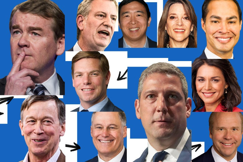 John Delaney, Eric Swalwell, Bill de Blasio, Julian Castro, John Hickenlooper, Tulsi Gabbard, Andrew Yang, Jay Inslee, Marianne Williamson, Michael Bennet, Tim Ryan, and Matt Danforth.