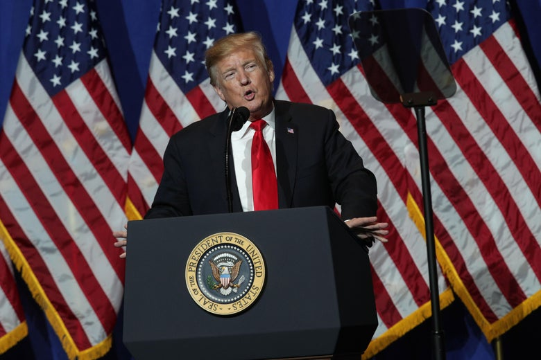 President Donald Trump addresses the National Association of Realtors Legislative Meetings & Trade Expo May 17, 2019 in Washington, D.C.