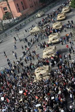 Egyptian protesters in Cairo's Tahrir square