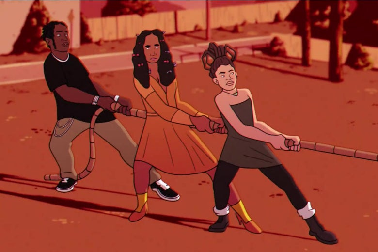 Animated versions of A$AP Rocky, Solange, and Willow Smith playing tug of war.