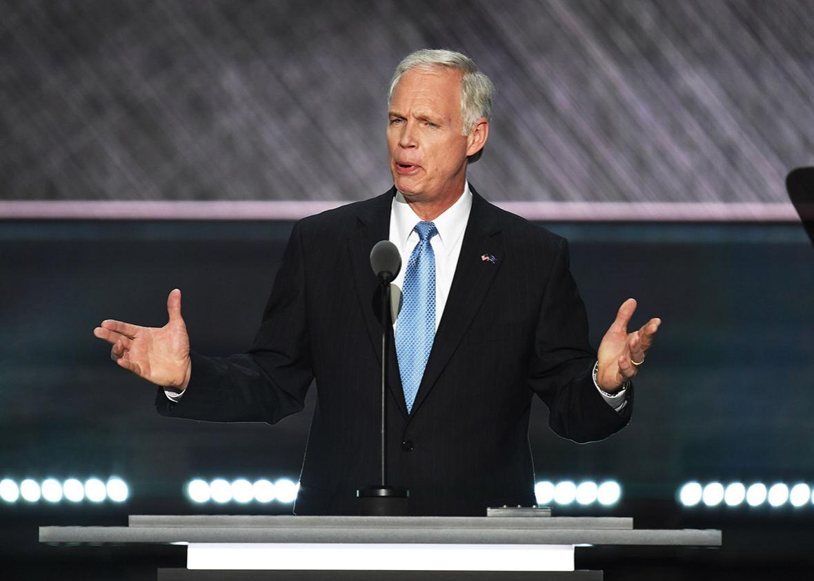 US Senator Ron Johnson speaks during the second day of the Republican National Convention at the Quicken Loans Arena in Cleveland on July 19, 2016.