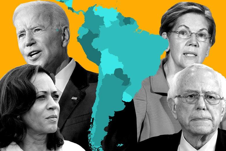Joe Biden, Kamala Harris, Elizabeth Warren and Bernie Sanders gathered around a map of South America.