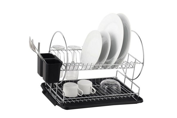 Deluxe Chrome-Plated Steel 2-Tier Dish Rack With Drainboard and Cutlery Cup