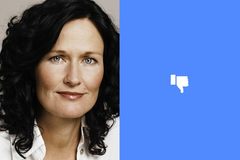 Eva Glawischnig-Piesczek and a Facebook-like thumbs-down symbol
