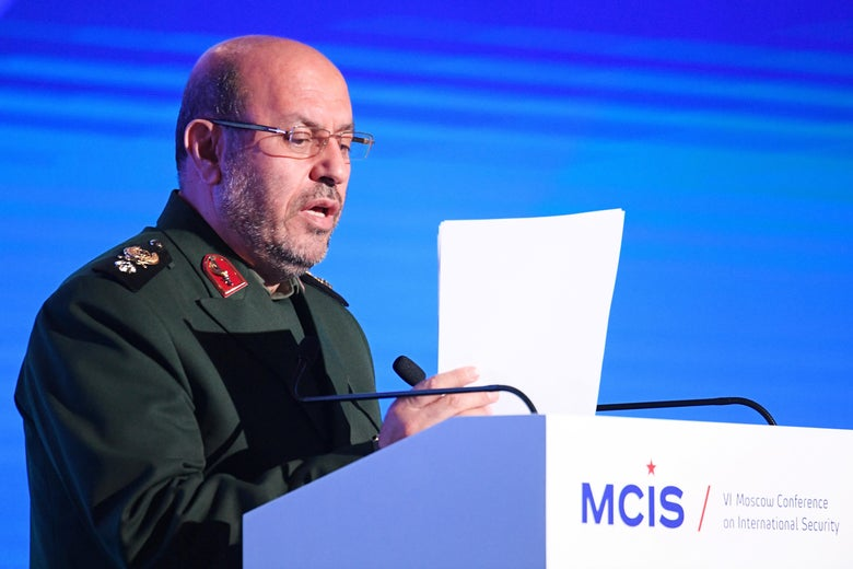 Iran's then-Defense Minister Hossein Dehghan gives a speech at the 6th Moscow Conference on International Security (MCIS) in Moscow on April 26, 2017.