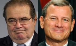 US Supreme Court Justices Antonin Scalia and John G. Roberts.