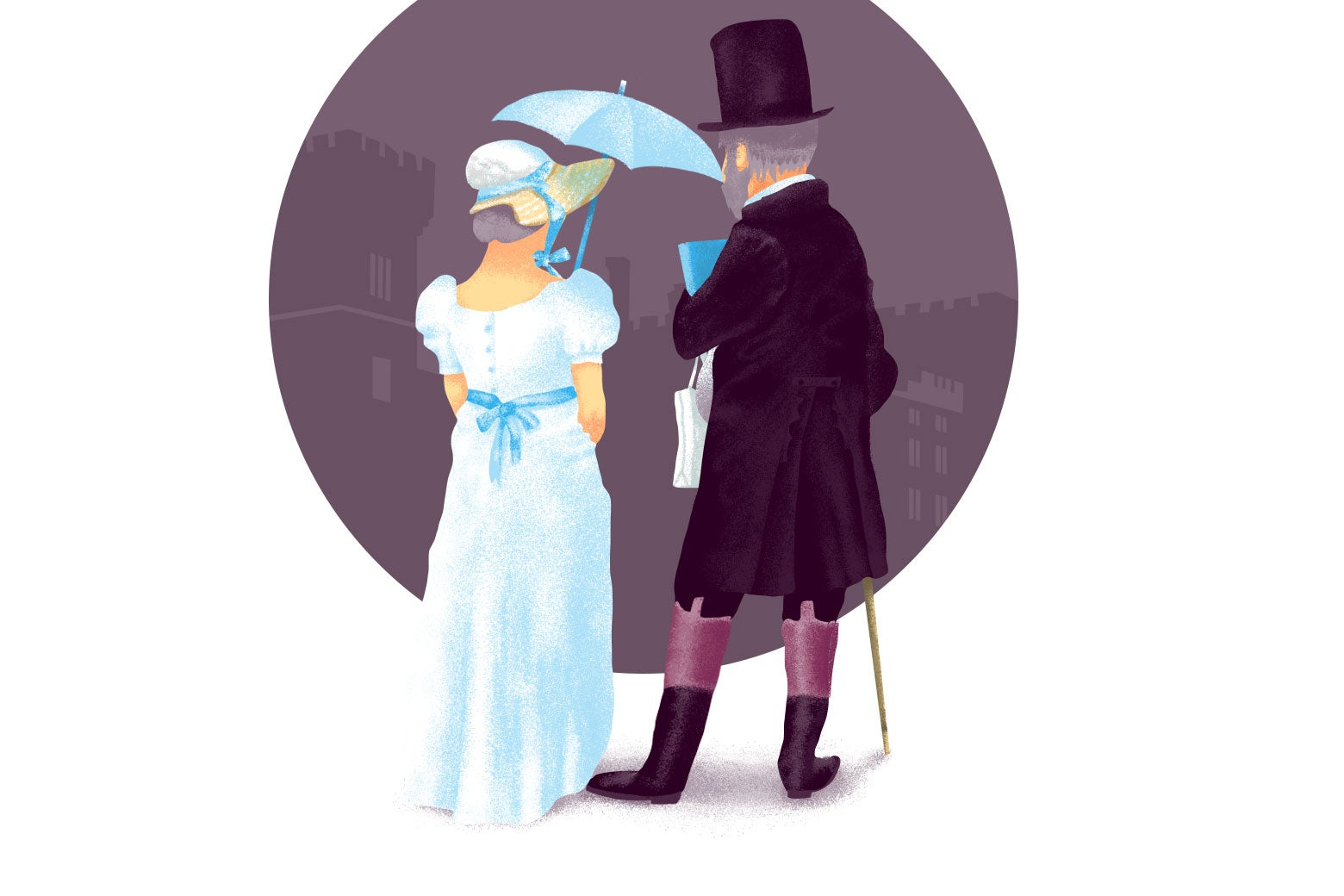 Illustration of an older couple dressed in garb from Jane Austen era.