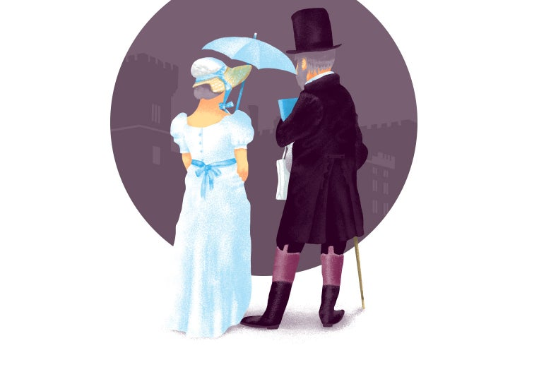 Illustration of an older couple dressed in garb from Jane Austen era.