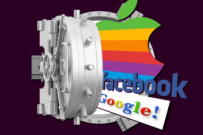 An open vault from which old Apple, Facebook, and Google logos are spilling out