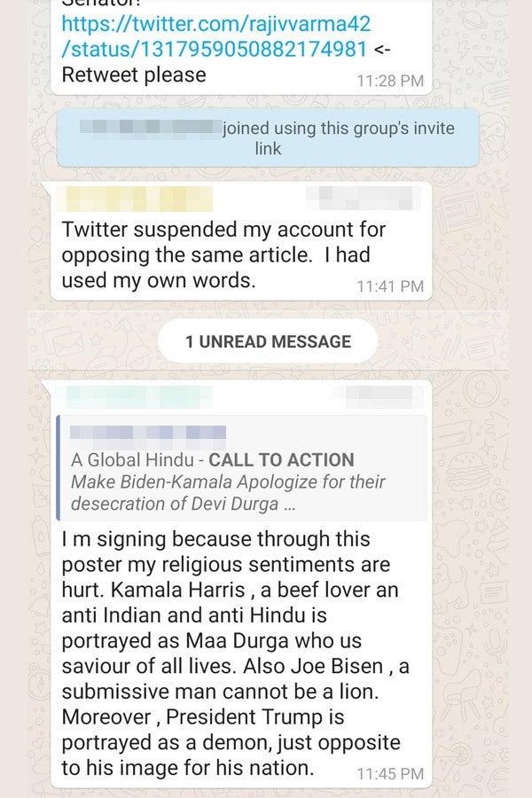 A screenshot of a WhatsApp group chat