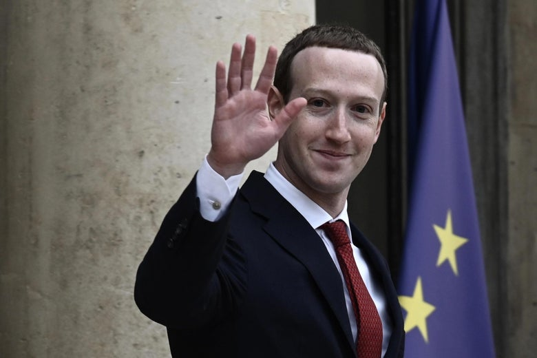 Facebook chief Mark Zuckerberg as he leaves the Elysee Palace in Paris on May 10, 2019.