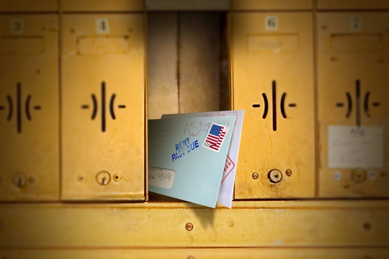 """A mailbox with a """"rent past due"""" letter."""