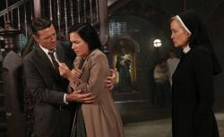 David Chisum as Jim Brown, Franka Potente as Kassie, Jessica Lange as Sister Jude in 'American Horror Story: Asylum.'