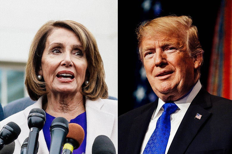 Nancy Pelosi and Donald Trump.