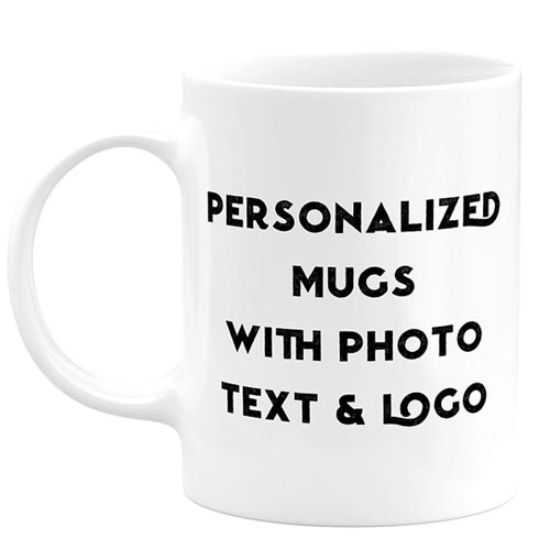 "A white mug that says, ""Personalized Mugs With Photo Text & Logo."""
