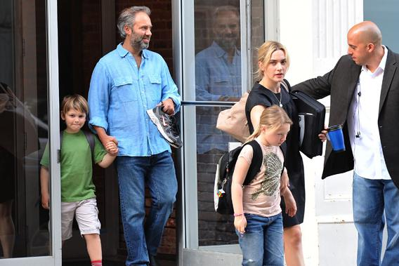 Kate Winslet with then-husband Sam Mendes and their children on April 8, 2010, in New York City.