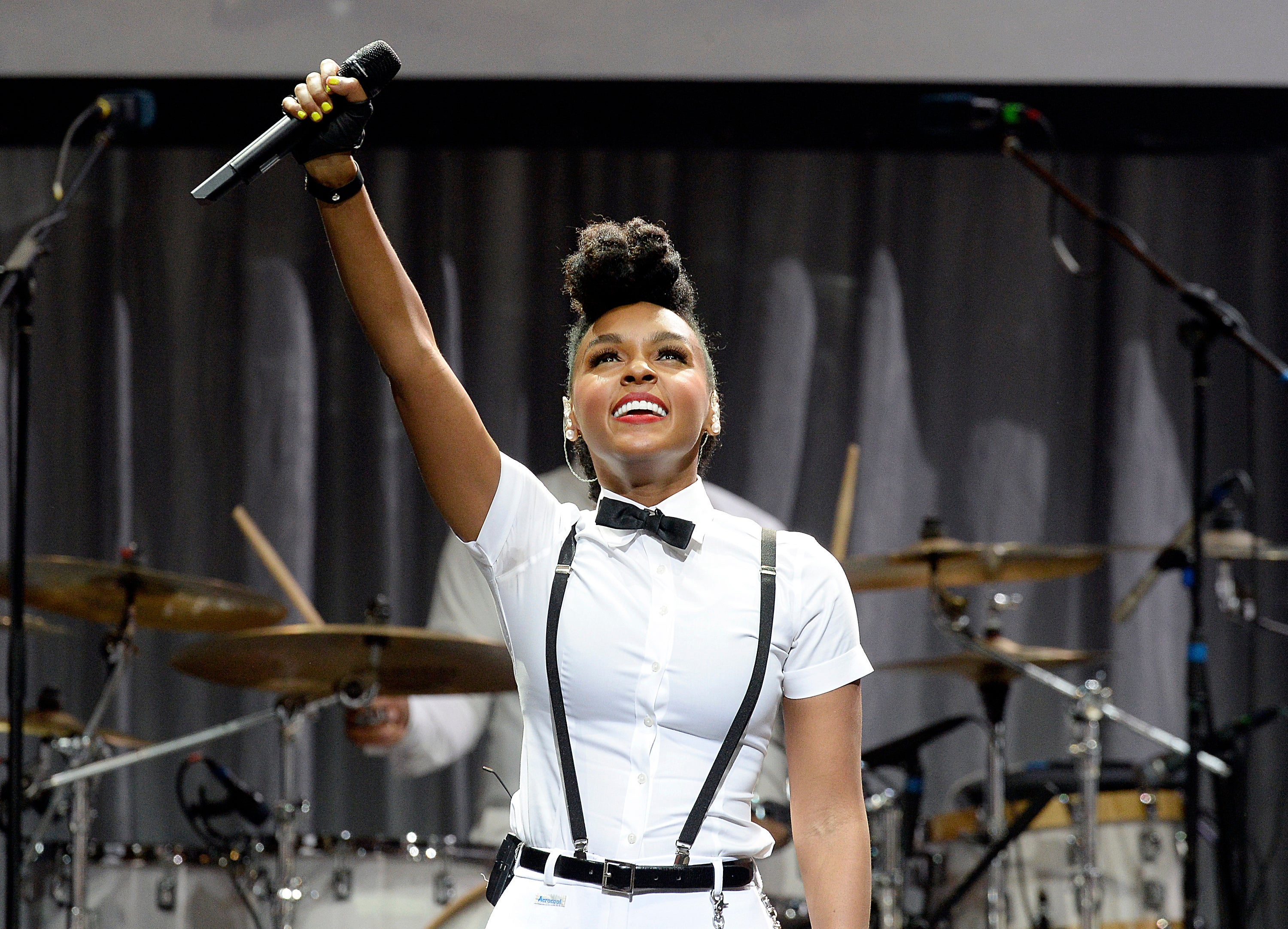 Singer Janelle Monáe performs after receiving the Grammy Museum's Jane Ortner Education Award July 16, 2014, in Los Angeles, California.