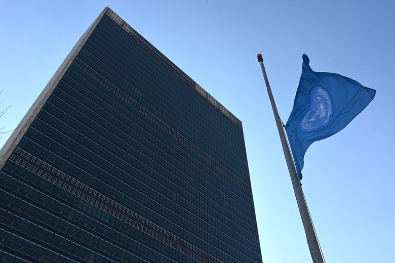 The flag of the United Nations is flown at half-mast in front of the Secretariat building.