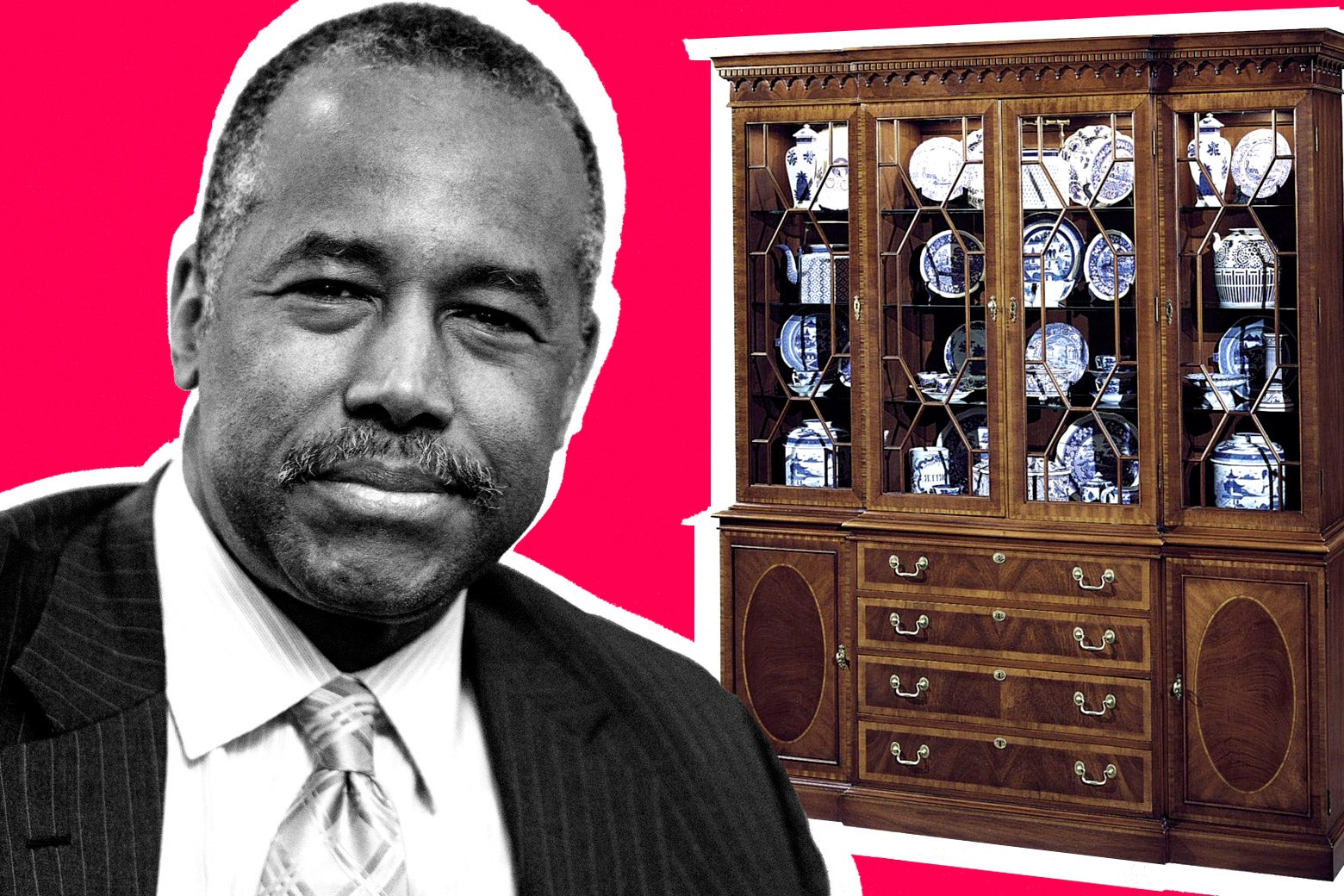 Ben Carson in front of expensive furniture.