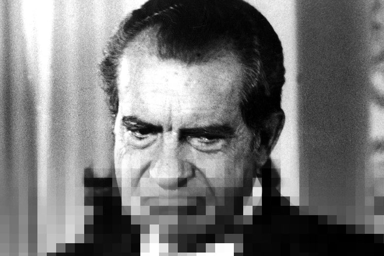 A photo of Richard Nixon pixelated as if it was downloading in the 1970s.