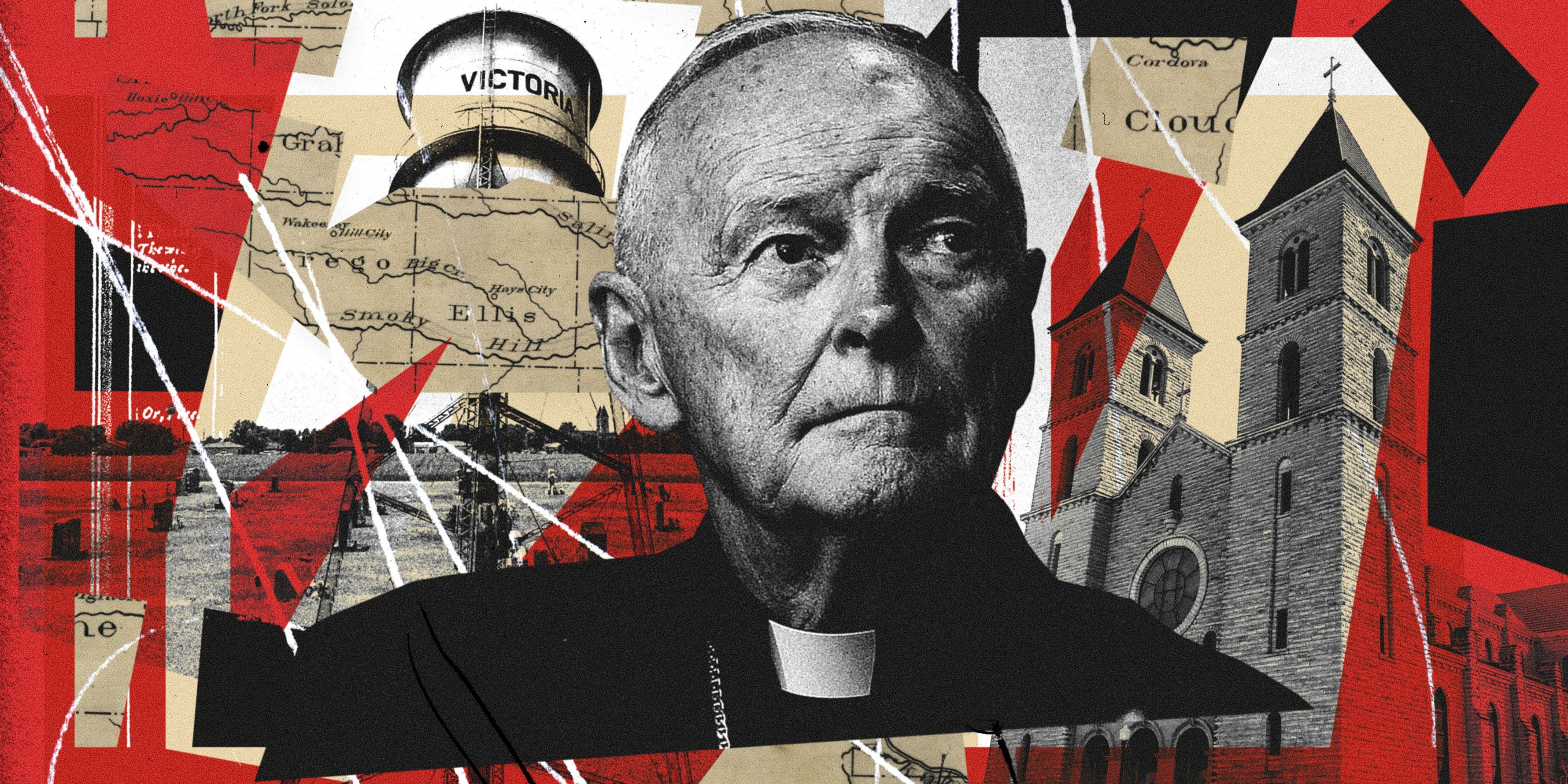 Theodore McCarrick surrounded by chaotic pieces of maps, photos of a cemetery, and the friary where he is located in Victoria Kansas.