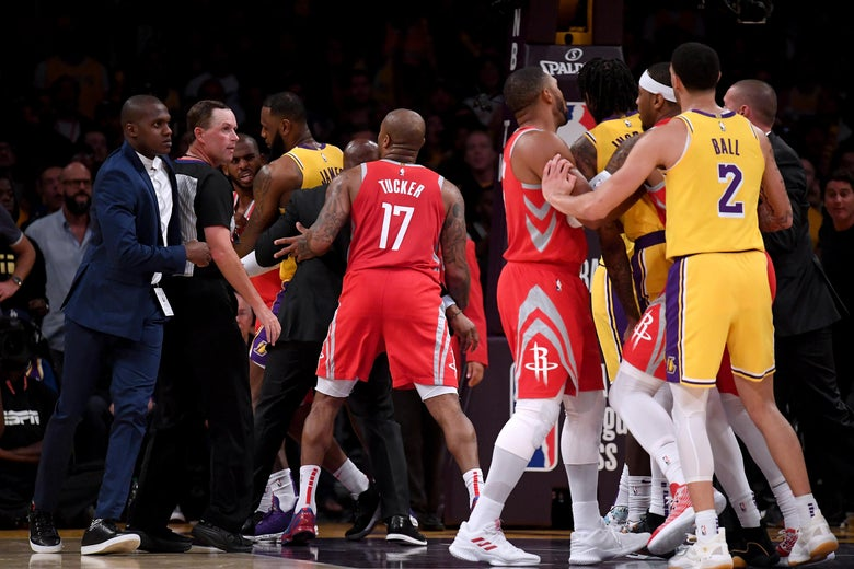 Image result for lakers rockets fight