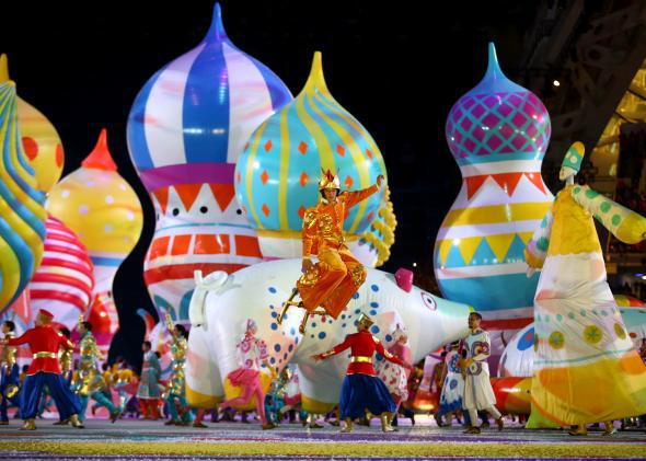 Scene from the Opening Ceremony of the Sochi Winter Olympics.