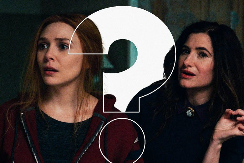 Elizabeth Olsen as Wanda and Kathryn Hahn as Agatha Harkness both look shocked. A giant question mark looms in front of them.