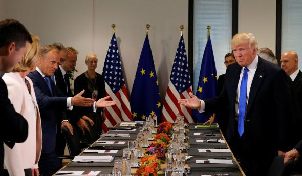 U.S. President Donald Trump meets the European Council