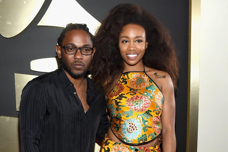 Rapper Kendrick Lamar and SZA attend The 58th Grammy Awards on February 15, 2016 in Los Angeles, California.