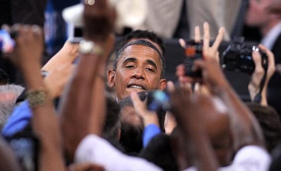 U.S. President Barack Obama greets supporters during a campaign stop