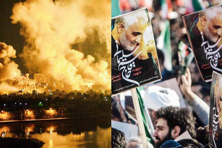 Left: Smoke covers the presidential palace in Baghdad in 2003. Right: People hold posters featuring Gen. Qassem Soleimani's face and Arabic script during the funeral ceremony for him.